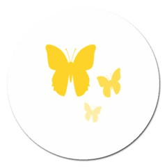 Yellow Butterfly Animals Fly Magnet 5  (Round)