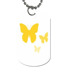 Yellow Butterfly Animals Fly Dog Tag (One Side)