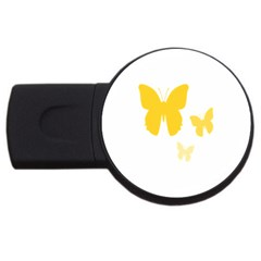 Yellow Butterfly Animals Fly Usb Flash Drive Round (2 Gb)
