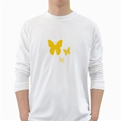 Yellow Butterfly Animals Fly White Long Sleeve T-Shirts