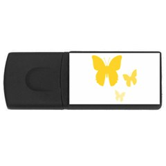 Yellow Butterfly Animals Fly USB Flash Drive Rectangular (4 GB)