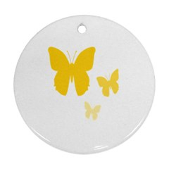 Yellow Butterfly Animals Fly Round Ornament (Two Sides)