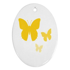 Yellow Butterfly Animals Fly Oval Ornament (Two Sides)