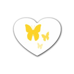 Yellow Butterfly Animals Fly Heart Coaster (4 pack)