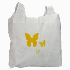 Yellow Butterfly Animals Fly Recycle Bag (Two Side)