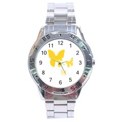 Yellow Butterfly Animals Fly Stainless Steel Analogue Watch