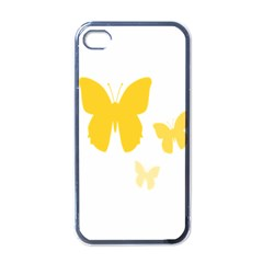 Yellow Butterfly Animals Fly Apple iPhone 4 Case (Black)