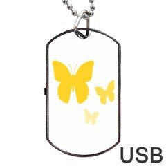 Yellow Butterfly Animals Fly Dog Tag USB Flash (One Side)