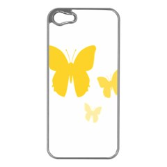 Yellow Butterfly Animals Fly Apple iPhone 5 Case (Silver)