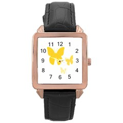 Yellow Butterfly Animals Fly Rose Gold Leather Watch