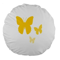 Yellow Butterfly Animals Fly Large 18  Premium Flano Round Cushions