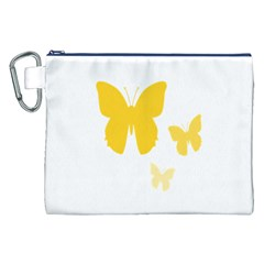 Yellow Butterfly Animals Fly Canvas Cosmetic Bag (XXL)