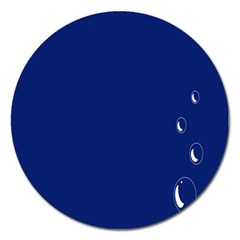 Bubbles Circle Blue Magnet 5  (round)
