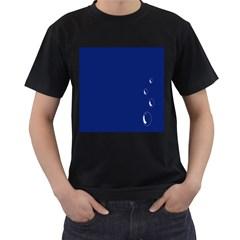 Bubbles Circle Blue Men s T-Shirt (Black) (Two Sided)