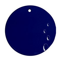 Bubbles Circle Blue Round Ornament (Two Sides)