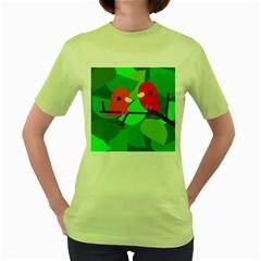 Animals Birds Red Orange Green Leaf Tree Women s Green T-Shirt