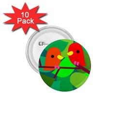 Animals Birds Red Orange Green Leaf Tree 1.75  Buttons (10 pack)