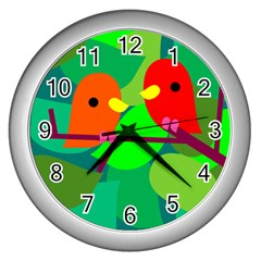 Animals Birds Red Orange Green Leaf Tree Wall Clocks (silver)