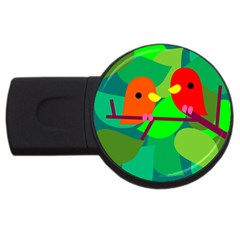 Animals Birds Red Orange Green Leaf Tree Usb Flash Drive Round (4 Gb)