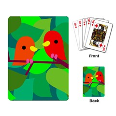 Animals Birds Red Orange Green Leaf Tree Playing Card