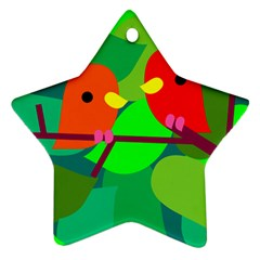 Animals Birds Red Orange Green Leaf Tree Star Ornament (Two Sides)