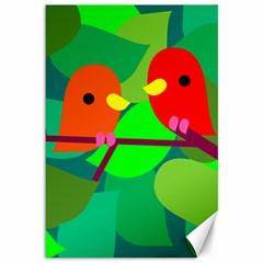 Animals Birds Red Orange Green Leaf Tree Canvas 12  x 18