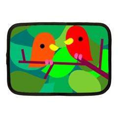 Animals Birds Red Orange Green Leaf Tree Netbook Case (Medium)