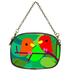 Animals Birds Red Orange Green Leaf Tree Chain Purses (Two Sides)