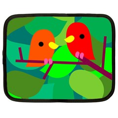 Animals Birds Red Orange Green Leaf Tree Netbook Case (XXL)