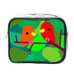 Animals Birds Red Orange Green Leaf Tree Mini Toiletries Bags