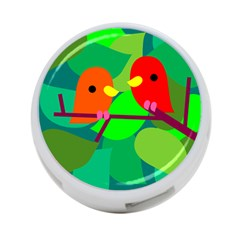 Animals Birds Red Orange Green Leaf Tree 4 Port Usb Hub (two Sides)