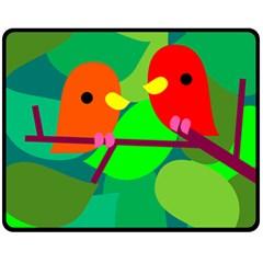 Animals Birds Red Orange Green Leaf Tree Fleece Blanket (Medium)