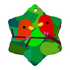 Animals Birds Red Orange Green Leaf Tree Snowflake Ornament (two Sides)