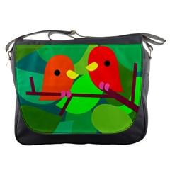 Animals Birds Red Orange Green Leaf Tree Messenger Bags