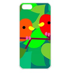 Animals Birds Red Orange Green Leaf Tree Apple Iphone 5 Seamless Case (white)
