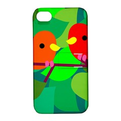Animals Birds Red Orange Green Leaf Tree Apple Iphone 4/4s Hardshell Case With Stand