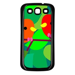 Animals Birds Red Orange Green Leaf Tree Samsung Galaxy S3 Back Case (Black)