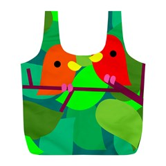 Animals Birds Red Orange Green Leaf Tree Full Print Recycle Bags (L)