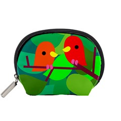 Animals Birds Red Orange Green Leaf Tree Accessory Pouches (Small)
