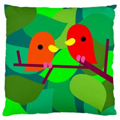 Animals Birds Red Orange Green Leaf Tree Large Flano Cushion Case (Two Sides)