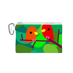 Animals Birds Red Orange Green Leaf Tree Canvas Cosmetic Bag (S)