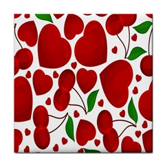 Cherry Fruit Red Love Heart Valentine Green Tile Coasters