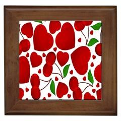Cherry Fruit Red Love Heart Valentine Green Framed Tiles