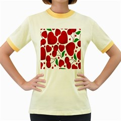 Cherry Fruit Red Love Heart Valentine Green Women s Fitted Ringer T Shirts