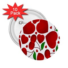 Cherry Fruit Red Love Heart Valentine Green 2 25  Buttons (10 Pack)