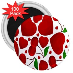 Cherry Fruit Red Love Heart Valentine Green 3  Magnets (100 Pack)