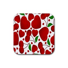 Cherry Fruit Red Love Heart Valentine Green Rubber Square Coaster (4 Pack)