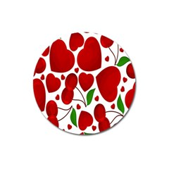 Cherry Fruit Red Love Heart Valentine Green Magnet 3  (round)