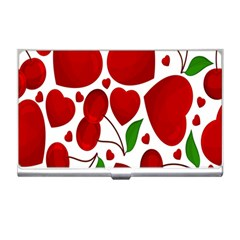 Cherry Fruit Red Love Heart Valentine Green Business Card Holders