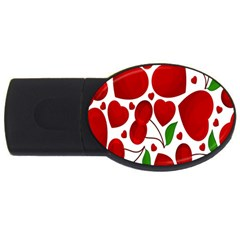 Cherry Fruit Red Love Heart Valentine Green USB Flash Drive Oval (1 GB)